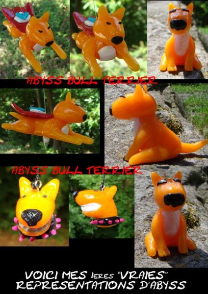 BULL TERRIER PATE FIMO CREATION PERSO MOUMA ET CHACHA PAS A VENDRE!